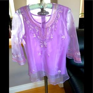 Embroidered Women's Sheer Blouse & Cami, XL, NWOT